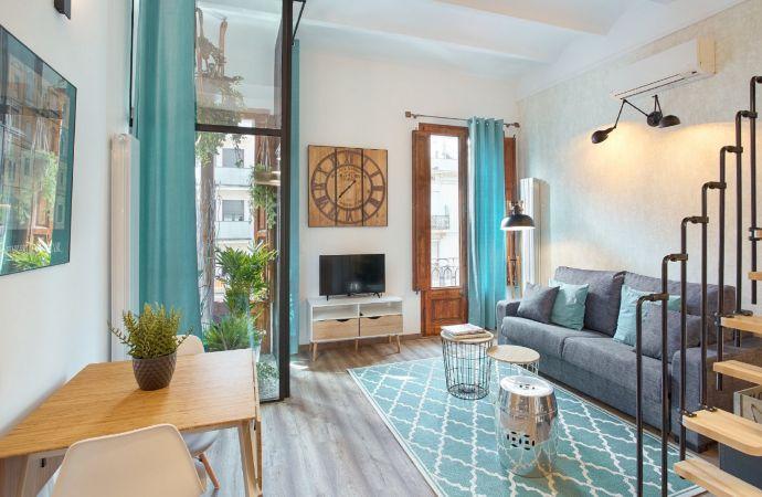 13568) UD Apartments - Marina Vintage Loft, Barcelona - Living Area