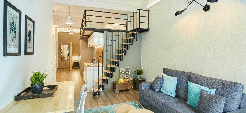 13601) Urban District Apartments - Marina Vintage Loft B, Barcelona - Living area