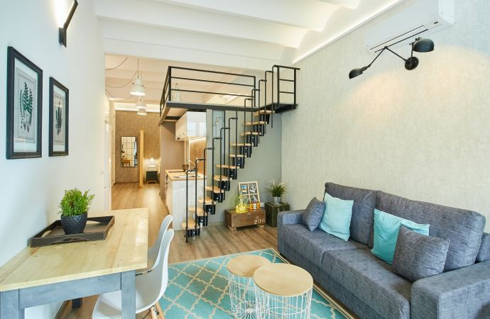 13601) Urban District Apartments - Marina Vintage Loft B, Barcelona - Living area